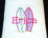Personalized Towels for Kids - Personalized Beach Towels with Surfboards - SALE Limited Time Only