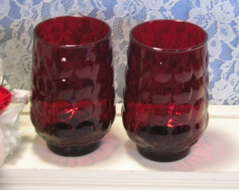 """Vintage Anchor Hocking Ruby Red Bubble Tumbler or Glass, Set of Two, 4 1/2"""" Size, 1950's Depression Glass, Christmas Glass Dinnerware"""