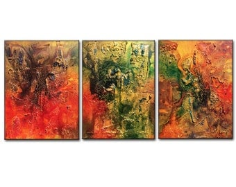 Original Modern Textured Metallic Colorful multipanel Abstract Painting by Henry Parsinia 54x20