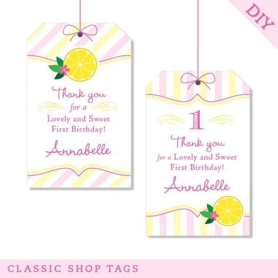 Pink Lemonade Party Personalized DIY Printable Favor Tags