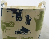 Fabric Organizer, Storage Bin, Container Basket, diaper organizer, Toy Trucks Felix Blue/Natural 12 x 10 x 7+