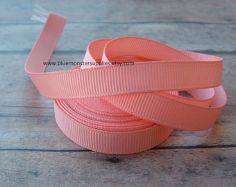 5 Yards 3/8 Inch Peach Grosgrain Ribbon Hairbows Korkers Headbands and More