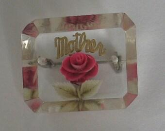 SALE Vintage Lucite Rose Mother Brooch