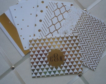 Gold Foil on White with gold foil placard Set of Five