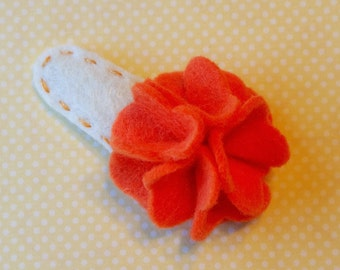 Orange and Cream Felt Flower 2 Inch Hair Clip