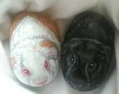Custom order for Rachel,  pet portrait Guinea Pigs on stone, 3D 3-4 in.