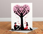 Tree of Love Greeting card - Anniversary Card - Wedding Card - Engagement Card