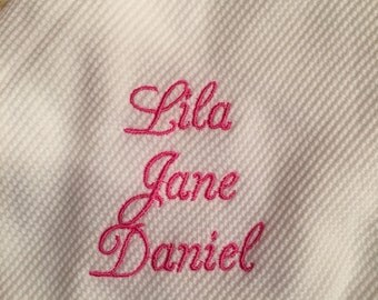 BABY BLANKET Personalized Thermal Receiving Blanket - Embroidered Monogrammed Baby or Shower Gift