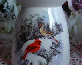 Cardinals in the Scotch Pine Ceramic Tea Light Tart Burner