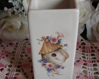 Small Square Ceramic Vase Adorned with a Birdhouse