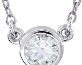 Bezel Set Moissanite April Birthstone Sterling Layering Necklace and Bridesmaid gift