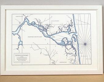 Newburyport Massachusetts, Letterpress Map Art Print (Navy Blue)