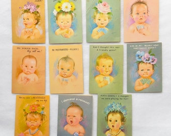 Vintage Bridge Tally Score Cards With Babies