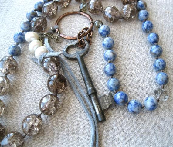 Found - Statement Necklace - long strand necklace -  demin lapis - assemblage - boho bohemian gypsy necklace - vintage - pendant necklace