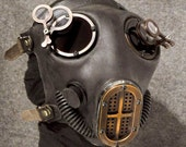 Industrial Gas Mask w Jewelers Lenses, Antiqued Copper Hardware - MS059CA