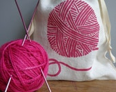 Knitting Bag, Organic Linen Drawstring Bag, Cloth Gift Bag ,  Bread Bag , Produce Bag , Screen Printed with Yarn Design