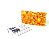 Business card holder, credit card case, card wallet, yellow orange, business card case gift for her, magnetic snap closure, 2 pockets