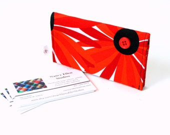 Business card holder, bold red flower, 2 pockets, credit card case, gift for her, purse accessory, magnetic snap, coworker gift