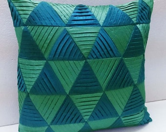 modern decorative pillow-teal green zig zag pleated origami triangle pleated cushion-home decor-accent pillow-hand sticthed pillow