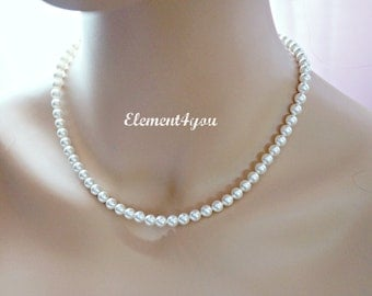 Pearl Necklace, Classic style, Swarovski pearls, Simple jewelry, Bridal necklace, Wedding jewellery, Bridesmaid necklace, Pink Purple Blue