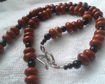 Red Jasper and Black Onyx Kokopelli Feather Necklace