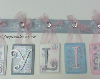 hand painted wooden letters with floral, stripes,polka dots,pink, grey, aqua,letters for girls girls names.letters for kids,baby's names