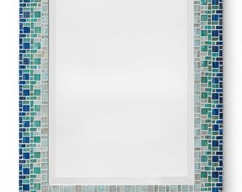 Custom Bathroom Mosaic Mirror - Sky Blue, Teal, Light Blue