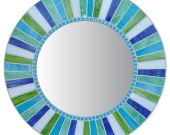 Round Wall Mirror - Aqua, Lime, White & Blue Mosaic