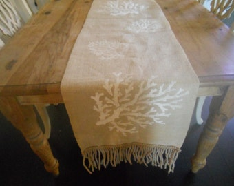 Sea Coral table burlap runner