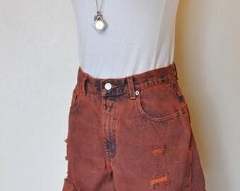 """Orange 28""""Waist Levi's 560 Denim SHORTS - Hand Dyed Orange Urban Denim High Waist Distressed Vintage Cut-off Shorts - Adult Womens 28"""" Waist"""
