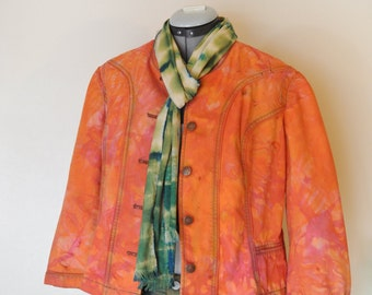 Orange Sz 8 Denim Jacket - Orange Pink Hand Dyed Upcycled Sigrid Olsen Denim Blazer Jacket - Adult Women's Size 8 Medium (40 chest)