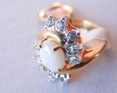 18K Gold White Opal Stone Cocktail Ring with Austrian Crystal Rhinestones, Size 7, HGE Heavy Gold Electroplate, 80s Jewelry, Common Opal
