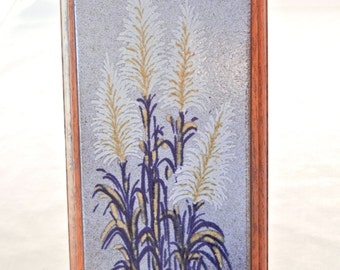 Pampas Grass Framed Art Tile, Blue and Tan Colors, Textured Oak Wood Frame, Courmajeur, Marvin L. Walker and Assoc., 80s early 90s