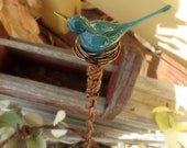 Garden art, bird plant stake, glass yard art, indoor garden - Custom