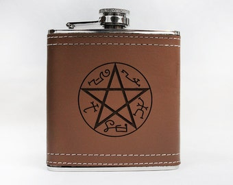 SALE Supernatural Flask Devil's Trap 6 oz. Stainless Steel - Faux Leather Gift - Sam Dean Winchester Bobby Demon Crowley Gift