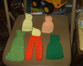 5 crocheted Barbie fashion doll outfits - shop closing on the 31st