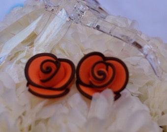 Orange with brown lininig rose stud earing