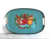 Vintage Tray Rattan Handles Aqua Teal Fruit Motif Japan