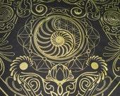 Nautilus Bandana- Black and Gold
