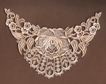 Hand Dyed Bridal Rose Medallion Venise Lace Applique  Vintage Blush