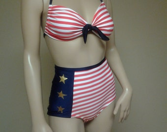 NEW  Sailor May High Waist American Flag Bikini Set