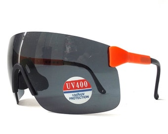 vintage 80's NOS oversize shield sunglasses neon orange plastic frames black lenses sun glasses men women eyewear accessories new razor ski