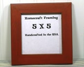 5X5 Picture Frame Distressed Wedding Frame Wood Frame Orange Cottage Chic Primitive