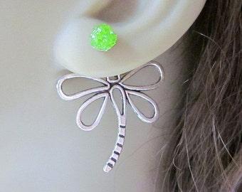 Dragonfly Ear Jackets, Double Sided Post Earrings, Green Stained Glass, Bug Reverse Earrings, Custom Color Front Back Earrings