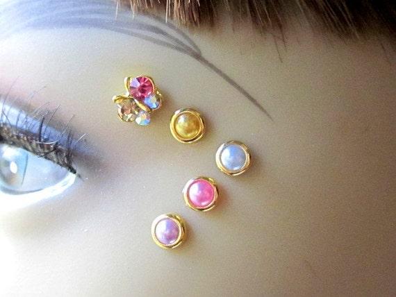 Gold Butterfly Eye Decals Eye Bindi Sprite Fairy Costume Jewelry Nonpiercing Eyebrow Accessory Crystal Butterfly 3D Tattoo Pearl Bindi