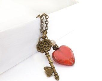 Valentine's Day Red Heart Skeleton Key Charm Necklace - Picasso Glass -  Bronze Necklace - Romantic Jewelry