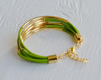 CLEARANCE  SALE  :  Lime Green Leather Cuff Bracelet with Gold Tubes ... DISCONTINUED