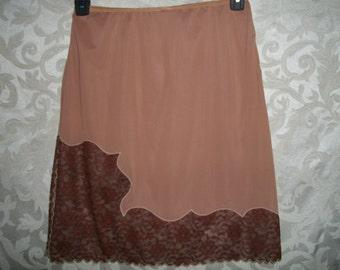 Vintage 50s Beige Brown Nylon and Lace Half Slip