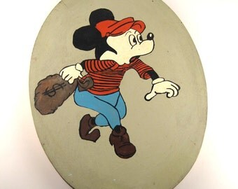 vintage mickey mouse painting - amateur outsider art - bizarro mickey mouse - bank robber mickey mouse - weird disney art - statment art