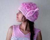 Pink Tinkerbell Fairy Hat, Elf Ears Pixie Hat, Unique cotton candy girls hat